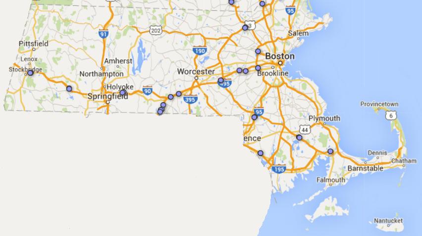 massachusetts rest area map